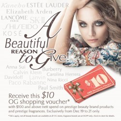 OG | $10 voucher with $100 spent on prestige brand beauty products