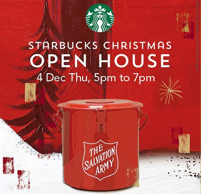 starbucks has been running their long tradition of giving away free beverages in an effort to raise charity dollars for the salvation army