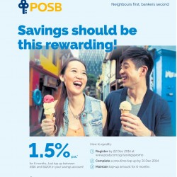 POSB | Get 1.5% p.a. for 6 months, starting from Dec 2014