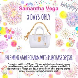 Free Mini Azayle Charm with min. purchase of $388 @ Samantha Thavasa