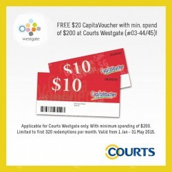 $20 CapitaVoucher when you spend $200 @ Courts Westgate
