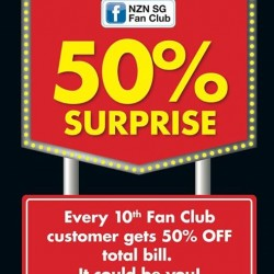 50% total bill for every 10th customer @ New Zealand Natural