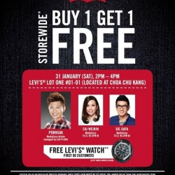 Buy 1 Get 1 Free storewide @  Levi's Lot One store
