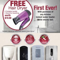 Ariston | free hair dryers with purchase of instant water heater