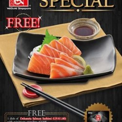Free Dekaneta Salmon Sashimi with min. spending of $30 @ Watami