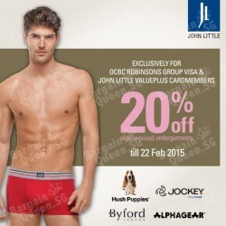20% off regular-priced men's undergarments @ John Little