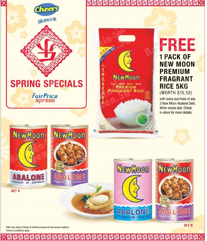 Free new moon fragrant rice with any abalone set purchase @ Cheers