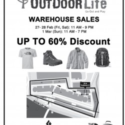 Warehouse sales up to 60% off @ Outdoor life