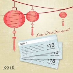 $15 rebate voucher with every $100 spend @ KOSÉ