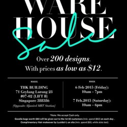 59c21d342 6 - 7 Feb. 2015 LOVE AND BRAVERY warehouse sale from  12