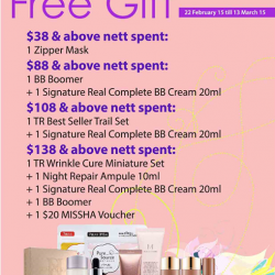 Free gifts with purchase @ Missha