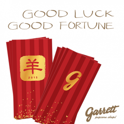 FREE Chinese New Year envelopes with $15 spend @ Garrett