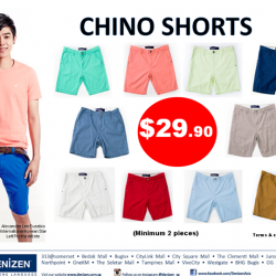 Chino Shorts at $29.90 each @ Denizen