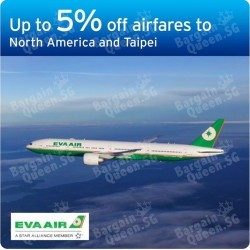 5% off airfares to North America & Taipei on EVA Air for Citibank Cards