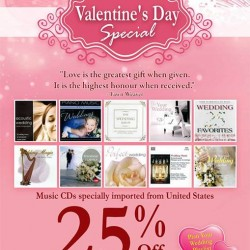 25% off Selected wedding music CDs @ Popular Book