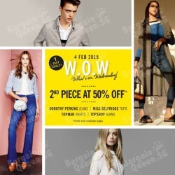 50% off jeans at Topshop & Dorothy Perkins, shirts* at Topman & tops at Miss Selfridge