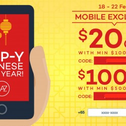 Up to S$100 OFF Coupon Code @ Lazada.sg (mobile only)