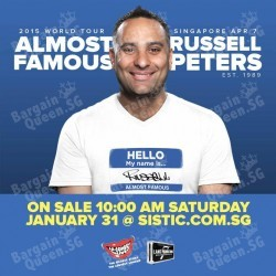 RUSSELL PETERS ALMOST FAMOUS WORLD TOUR 2015 @ Singapore - BQ.SG.