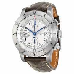 Longines Heritage Collection Chronograph Silver Dial Leather Men Watch L27414732 @JomaShop.com