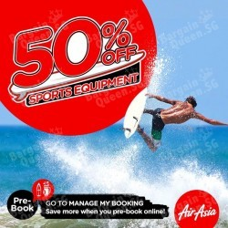 50% off on all Sports Equipment fee @ AirAsia