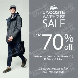 LACOSTE Warehouse Sale up to 75% off @ Royal Sporting House