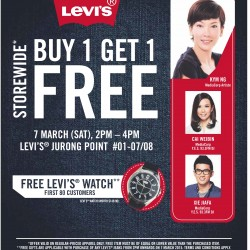 Buy 1 Get 1 free storewide @ Levi's Jurong Point