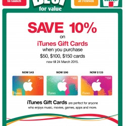 Save 10% on iTunes Gift Cards @ 7-11
