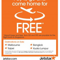 Pay to go and come home for free @ Jetstar