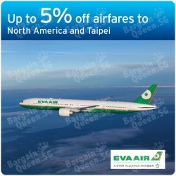 Up to 5% off airfares to North America and Taipei on EVA Air with Citibank Credit Cards