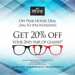 20% off 2nd pair of glasses Off Peak Hours Deal @ Wink Optics