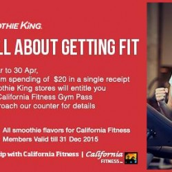 Spend $20 at Smoothie King for a complimentary 7-day California Fitness Gym Pass