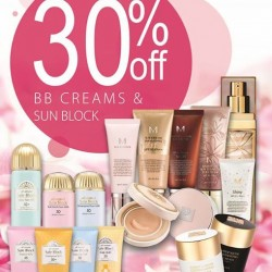 30% off all BB Cream and Sunblock @ Missha