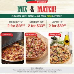 Mix & Match Pizza promotion @ Sarpino's
