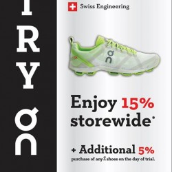 Try on and ON Running shoes receive a 15% voucher @ Running Lab