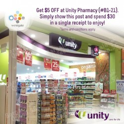 $5 OFF flash-to-redeem coupon @ Unity Pharmacy Westgate