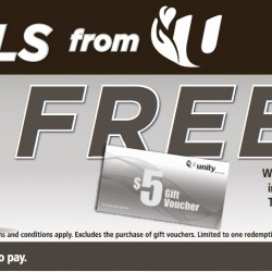 FREE $5 Voucher with min $50 nett spend @ Unity