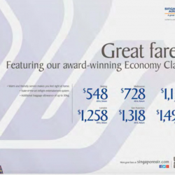 Great Economy Class fares @ Singapore Airlines