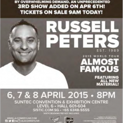 Russell Peters 3rd show added on Apr 6th Tickets on sale