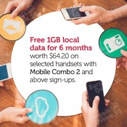 Free 1GB local data for 6 months on selected handsets with Mobile Combo 2 and above sign-ups @ Singtel