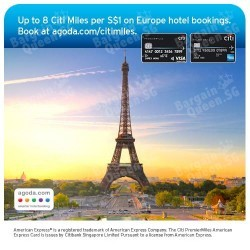Up to 8 Citi Miles per S$1 spent on hotel bookings @ Agoda with Citibank Card