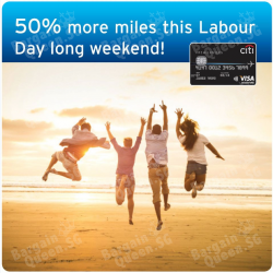 50% more miles long weekends @ Citibank cards