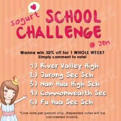 School Challenge: WHOPPING 30% OFF for one week @ Sogurt