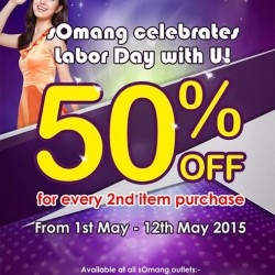 50% off for every 2nd item purchase @ Somang