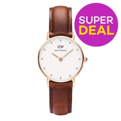 DW Classy St Mawes Women's & Men's Brown Leather Watch @ Lazada