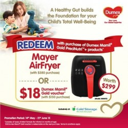 Purchase $380 worth of Dumex Mamil Gold Products and redeem a Mayer AirFryer