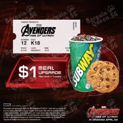 $1 upgrade Avengers Combo @ Subway