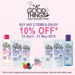 """Buy any 2 items and enjoy 10% off """"GoodThings"""" @ BHG"""
