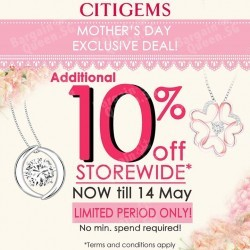 Enjoy additional 10% off storewide @ Citigems.
