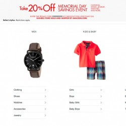 Amazon 20% off promo code for select clothing, shoes, jewelry, watches