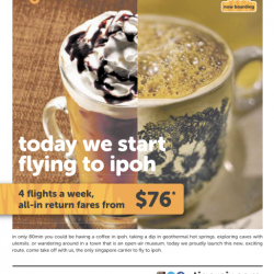 New Route to Ipoh from S$76 @ TigerAir